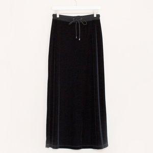 Moda International Black Velvet Maxi Skirt S